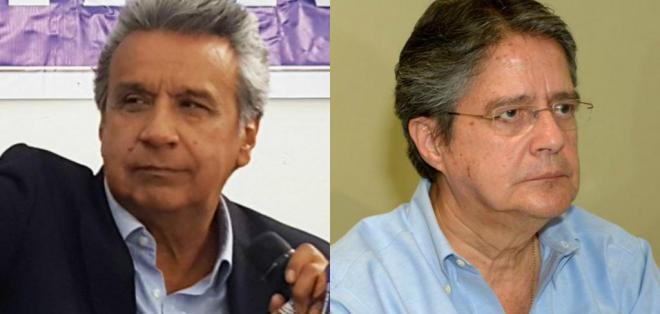 Lenín Moreno respalda a su compañero de fórmula; Guillermo Lasso dice rechazar corrupción. Foto: Collage.