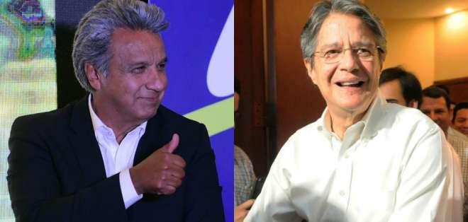 ECUADOR.- Según los resultados oficiales del CNE, Moreno obtuvo el 39,36% de la votación, mientras que Lasso, el 28.09%. Fotos: API, Collage: Ecuavisa