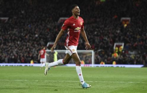 Marcus Rashford hizo el gol de la clasificación para el Manchester United. Foto: AFP