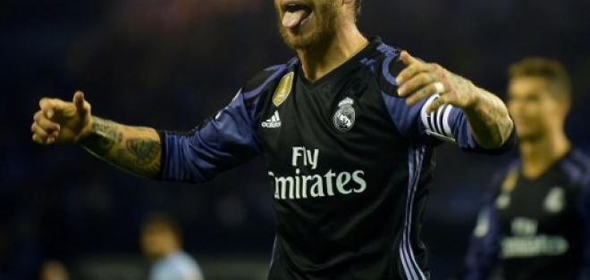 Sergio Ramos celebra uno de los goles del Real Madrid. Foto: AFP