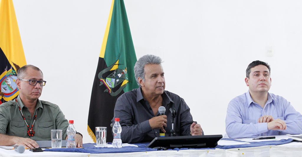 ORELLANA, Ecuador.- El primer mandatario dijo que necesitaba a su vicepresidente cumpliendo las funciones encargadas. Foto: Secom