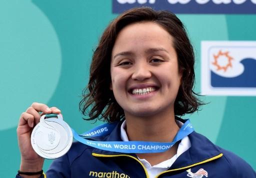 Samantha Arévalo, de 22 años, consigue su primera medalla en un mundial absoluto. Foto: AFP