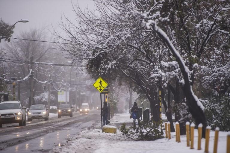 Para la Dirección Meteorológica de Chile la nevada superó a la ocurrida en 1971. Foto: AFP