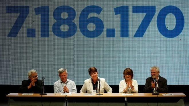 Rectores de universidades venezolanas acutaron como garantes en la consulta de la oposición. Al fondo, la cifra de participación.