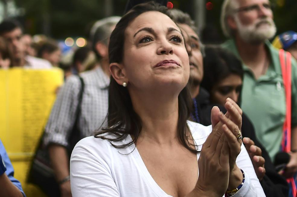 """CARACAS, Venezuela.- """"No vamos a caer en la trampa de las elecciones regionales, ir a elecciones regionales es reconocer la Asamblea Constituyente fraudulenta"""", dijo Machado en rueda de prensa. Foto: AFP."""