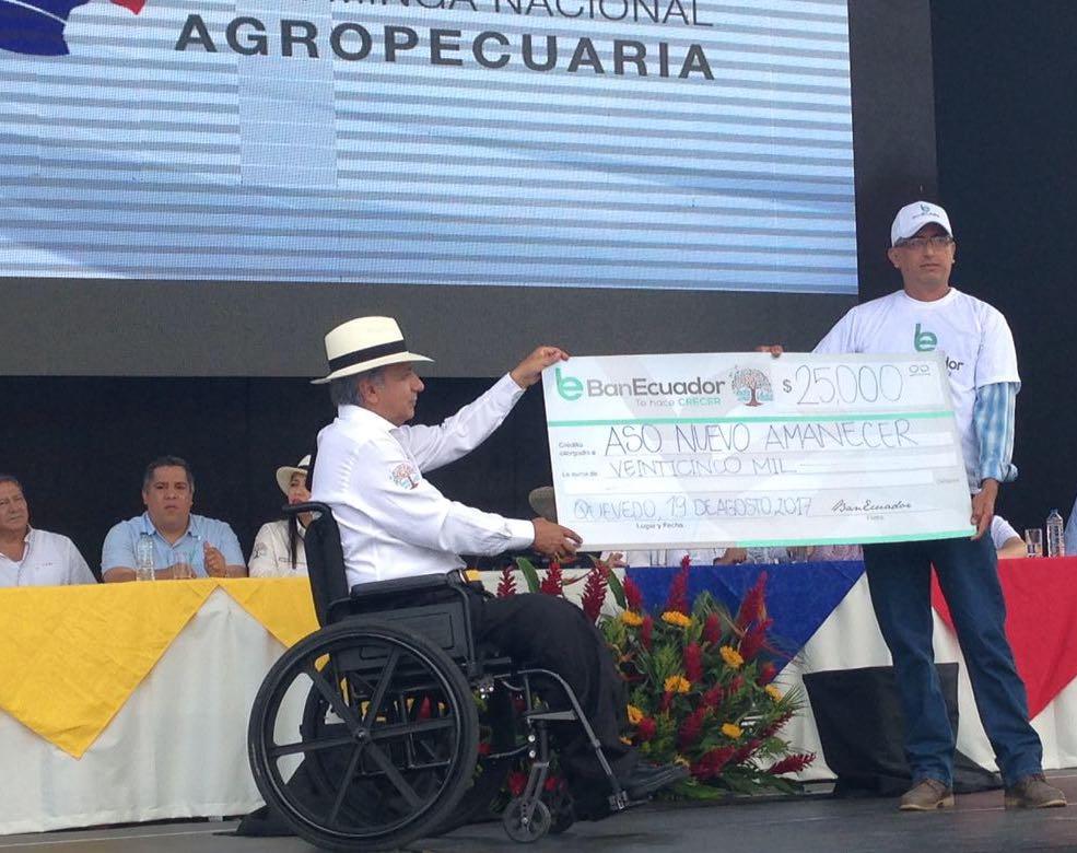 QUEVEDO, Ecuador.- De acuerdo con el Ministerio de Agricultura, la entrega de los créditos tendrá una tasa de interés preferencial que va del 2% al 5%, a un plazo de hasta 15 años. Foto: Twitter Presidencia.