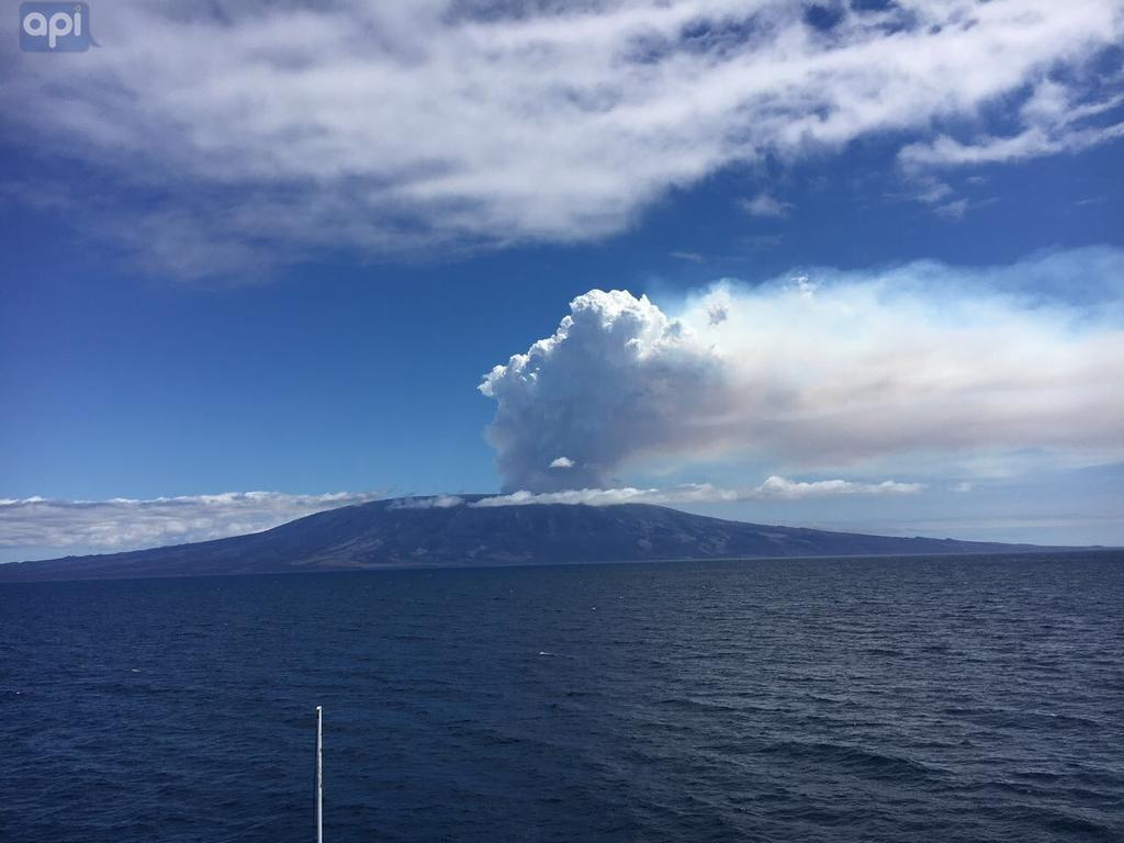 Volcán La Cumbre en actividad. Foto: Archivo API