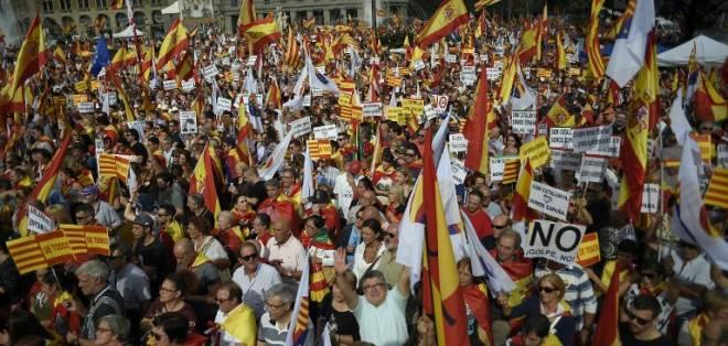 Según la policía local barcelonesa, a la marcha acudieron 65.000 personas. Foto: AFP