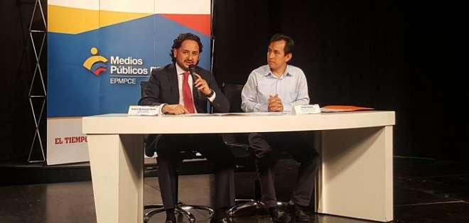 QUITO, Ecuador.- Andrés Michelena, gerente de los Medios Públicos, informó anunció la fusión de Gamavisión con Ecuador TV. Foto: Juan Carlos Aizprúa / Ecuavisa