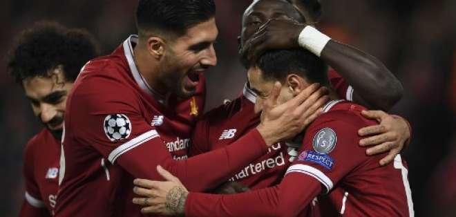 El Liverpool goleó 7-0 al Spartak Moscú para asegurarse  el primer lugar del grupo. Foto: AFP