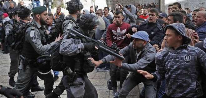 Multitudinarias protestas en la Franja de Gaza y en Cisjordania ocupada. Foto: AFP