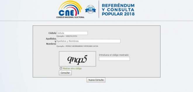 El CNE habilitó un formulario para informar a la ciudadanía dónde debe sufragar y si es parte de una mesa electoral. Foto: Captura Pantalla.