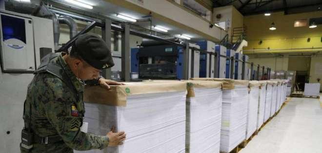 EL CNE informó que las papeletas y documentos para la Consulta Popular 2018 se imprimen desde el 26 de diciembre. Foto: Twitter CNE.