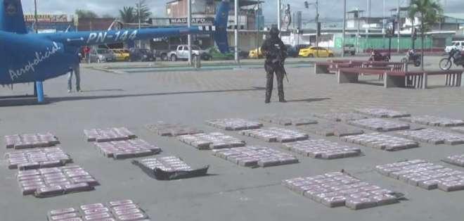 Según autoridades, la droga se dirigía haciaCentroamérica, cuyo destino final era EEUU. Foto: Ecuavisa.