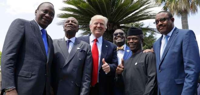 Donald Trump posa junto a líderes africanos en un encuentro realizado en mayo de 2017. Foto: The Salt Lake Tribune.