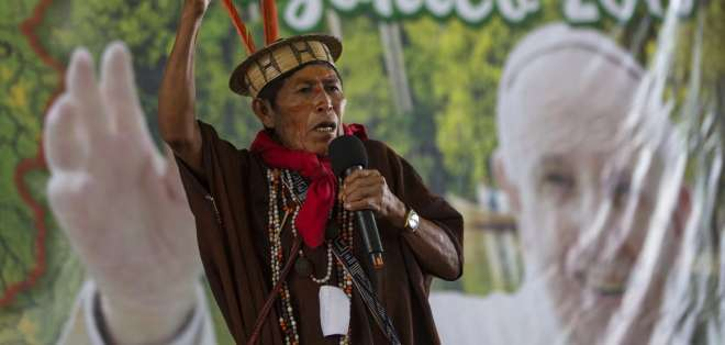 Ashaninka David Barbosa participa en encuentro de indígenas en la provincia de Madre de Dios, enero de 2018. Foto: AP