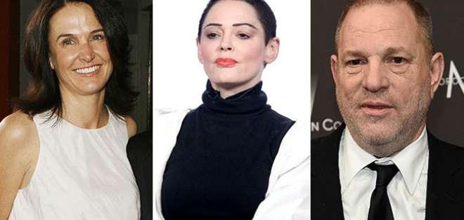Jill Messick (primera desde la izq.) fue manager de Rose McGowan (centro), quien acusó a Weinstein de violación. Foto: Collage.
