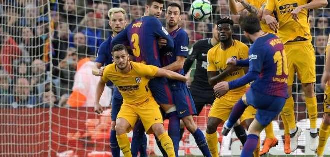 Lionel Messi convirtió ante el Atlético de Madrid su gol 600 como profesional.
