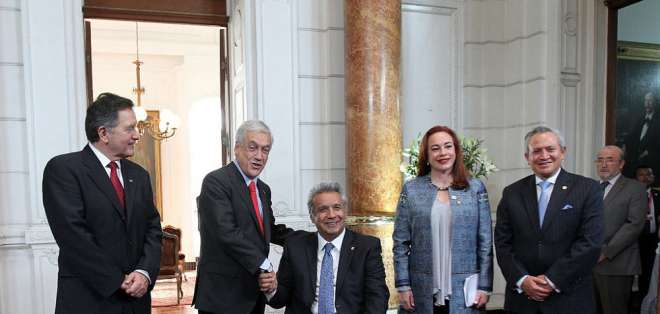 Lenín Moreno y Sebastián Piñera se reunieron la tarde del sábado 10 de marzo en Chile. Foto: Flickr Presidencia Ecuador