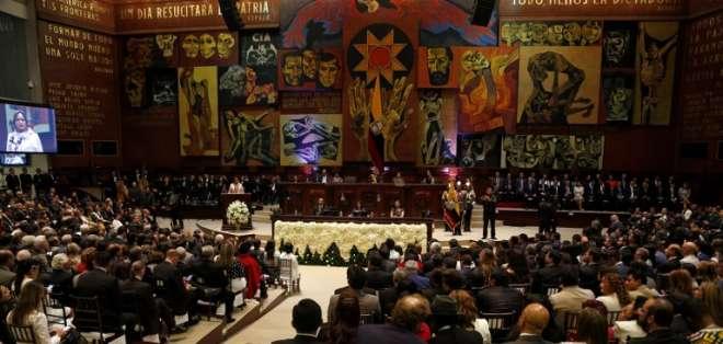 Informe a la Nación 2018 del presidente Lenín Moreno. Foto: AFP