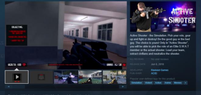 Active Shooter fue retirado de la tienda de juegos Steam. Foto: Valve