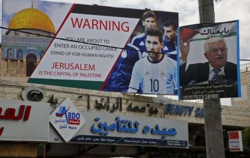 El argentino Lionel Messi recibió amenazas por parte de palestinos. Foto: HAZEM BADER / AFP