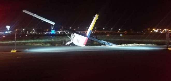 Aeronave de la FAE perdió pista en aeropuerto de Guayaquil. Foto: Cortesía