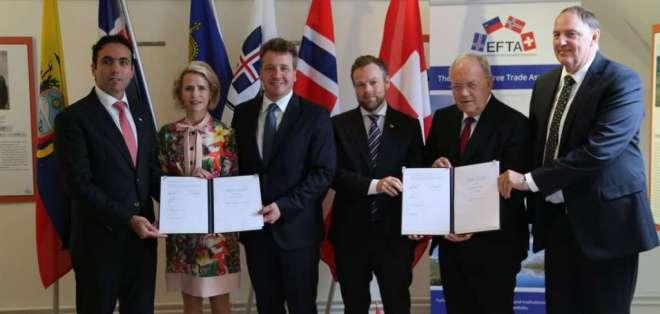 El convenio fue firmado por los ministros de Economía de los países de EFTA y Campana. Foto: @EFTAsecretariat