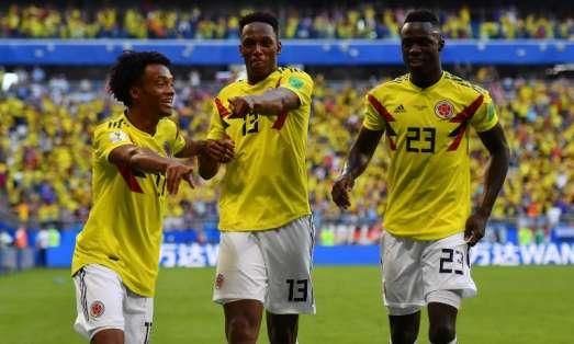 Los 'cafeteros' vencieron 1-0 a Senegal en Samara con gol de Yerry Mina (c.). Foto: Manan VATSYAYANA / AFP