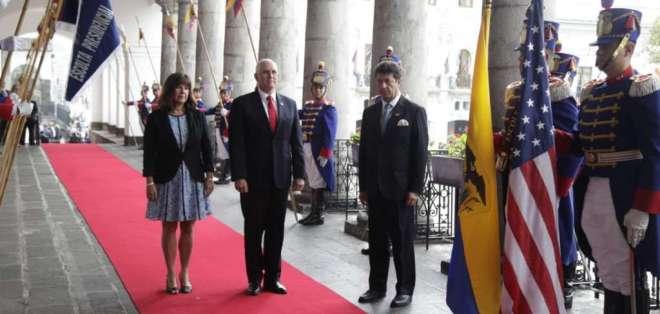 El vicepresidente estadounidense tratará con Moreno la crisis de Venezuela. Foto: API
