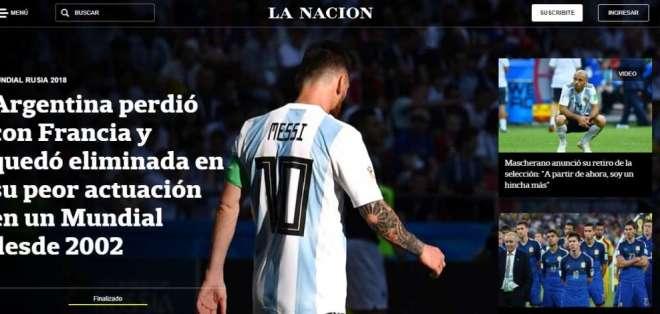 Portada diario La Nación. Foto: Captura de pantalla
