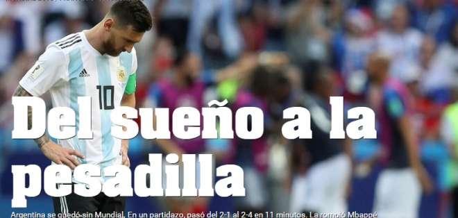 Portada diario Olé. Foto: Captura de pantalla