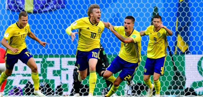SAN PETERSBURGO, Rusia.- Emil Forsberg (10) metió el único gol del partido. Foto: AFP