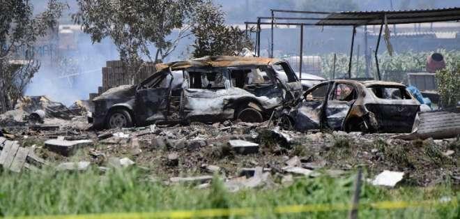 La explosión ocurrió en talleres de pirotecnia en Tultepec. Foto: AFP