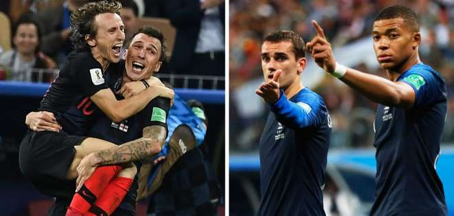 Modric y Mandzucic de Craoacia se enfrentarán a Griezmann y Mbappé de Francia. Foto: Marca