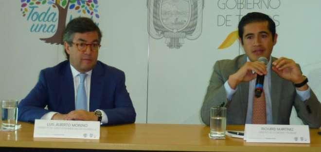 El presidente del BID y el ministro de Finanzas. Foto: Finanzas