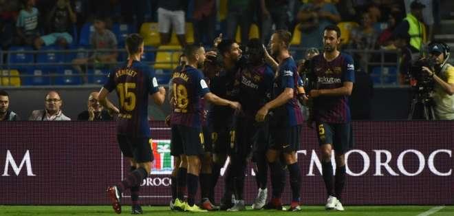 Los 'azulgranas' vencieron 2-1 al Sevilla en Tánger, Marruecos. Foto: FADEL SENNA / AFP