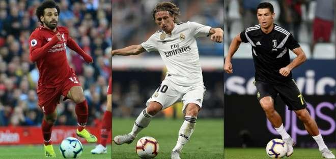 Salah, Modric y CR7 son los finalistas para el premio The Best de la FIFA. Foto: AFP