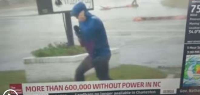 El reportero que sobreactuó el poder del huracán Florence.