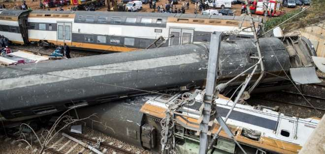 Accidente ferroviario en la ciudad marroquí de Bouknadel Foto: AFP