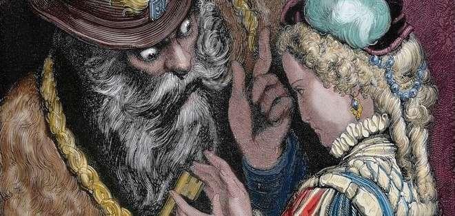 Barba Azul le advierte a su mujer que no entre en una habitación; ella desobedece y encuentra a las exesposas muertas.