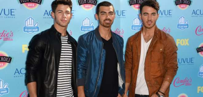 Los Jonas Brothers, que sacaron su primer álbum en 2006 y lograron fama mundial. Foto: AFP.