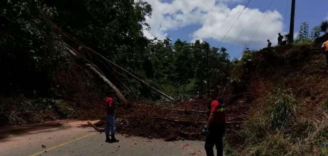 La afectación vial ocurrió en el kilómetro 142, sector río Blanco. Foto: Ecu 911 Quito