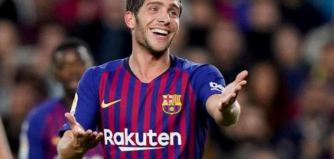 Sergi Roberto, disputando un partido con el Barcelona.