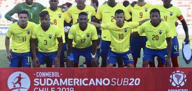 Jugadores de la selección ecuatoriana sub 20, que obtuvo el título sudamericano.