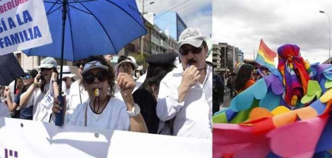 ECUADOR.- Grupos salieron a las calles de varias ciudades a defender la familia y la igualidad. Fotos: API