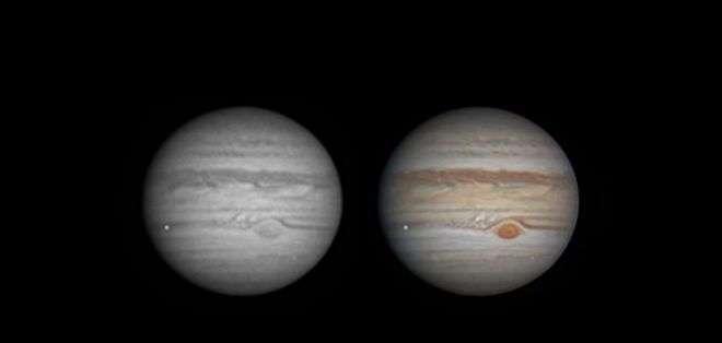 Este el momento de la captura del impacto en Júpiter. El punto brillante a la izquierda del planeta (Foto: Ethan Chappel @Chappe