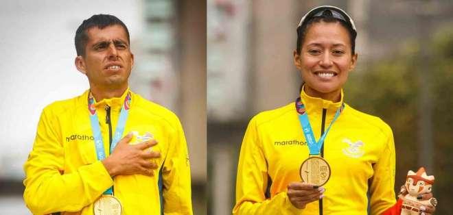 Claudio Villanueva y Johanna Ordóñez, atletas nacionales.