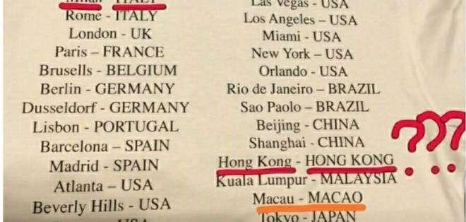 El texto en la camiseta de Versace implicaba que ni Kong Kong ni Macao son parte de China.