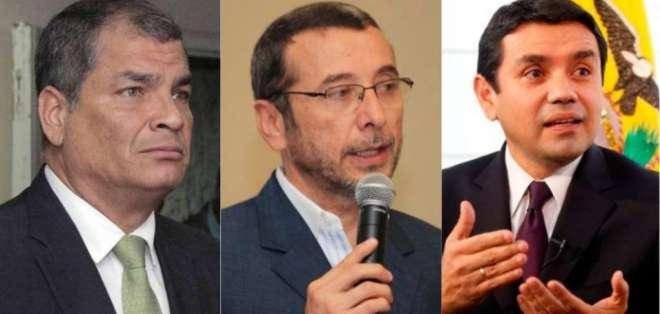 De izquierda a derecha: Rafael Correa, Vinicio Alvarado y Walter Solís. Foto: Collage/Ecuavisa